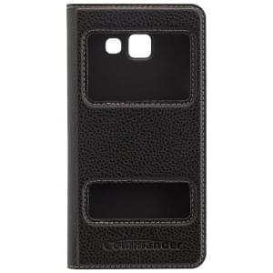 COMMANDER Premium Handytasche DOUBLE WINDOW für Samsung Galaxy A3 (2016) - Black