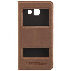 COMMANDER Premium Handytasche DOUBLE WINDOW für Samsung Galaxy A3 (2016) - Nubuk Brown