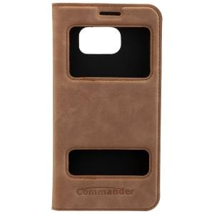 COMMANDER DOUBLE WINDOW Handytasche für Samsung Galaxy S7 - Nubuk Brown