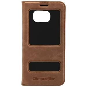 COMMANDER DOUBLE WINDOW Tasche für Samsung Galaxy S7 Edge - Nubuk Brown
