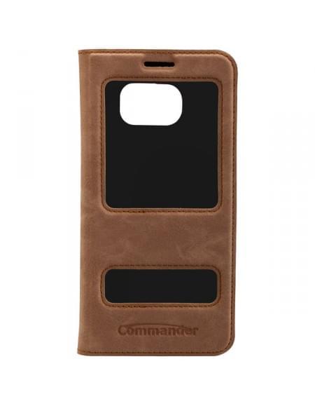 COMMANDER DOUBLE WINDOW Tasche für Samsung Galaxy S7 Edge - Nubuk Brown