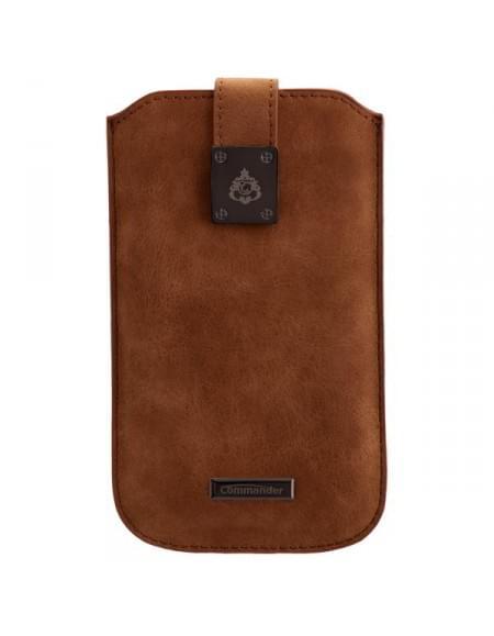 COMMANDER Tasche MILANO XXL5.7 Nubuk Brown für Samsung Galaxy S7 Edge / Apple iPhone 7 Plus