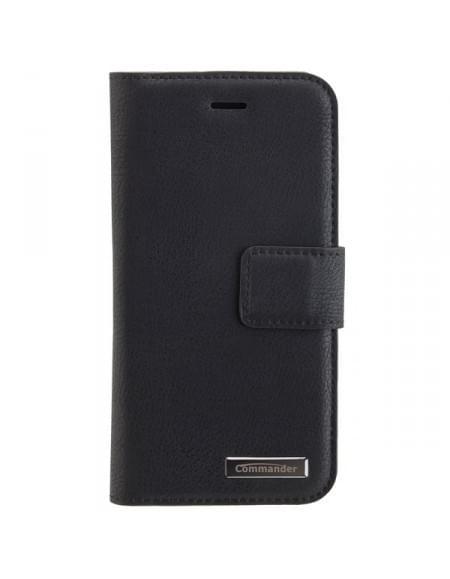 COMMANDER Tasche BOOK CASE Vintage Schwarz 2in1 mit Back Cover für Apple iPhone 7