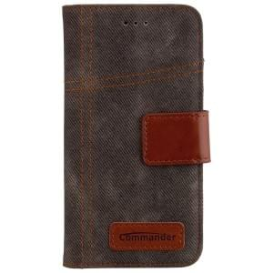 COMMANDER Premium Handytasche BOOK CASE Jeans khaki für Apple iPhone 7 / 8