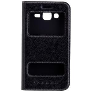 COMMANDER Premium Handytasche DOUBLE WINDOW Black für Samsung Galaxy J5 (2016) SM-J510