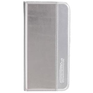 COMMANDER Handytasche BOOK CASE Gentle Metallic Duo für Apple iPhone X / Xs - Grey / Silver
