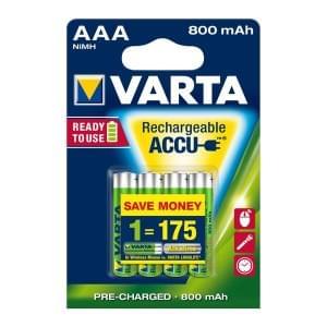 Varta Akku Longlife Accu Micro AAA Ready 2 Use NiMH 800mAh 56703 - 4er-Blister