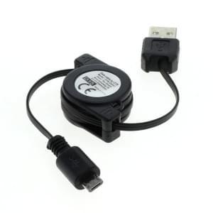 USB Kabel A-Stecker > Micro-Stecker - 0,8m - USB 2.0 - aufrollbar - schwarz