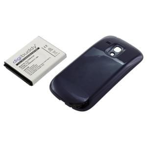Ersatzakku für Samsung Galaxy S III mini i8190 Li-Ion fat 3000mAh mit blauem Backcover