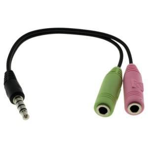 Audio Kabel 2 x 3,5mm Klinken Buchse auf 3,5mm Klinken Stecker Stereo ( PC-Headset > iPhone )