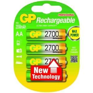 GP Akku Rechargeable Professional NiMH AA Mignon 2700mAh - 4er-Blister