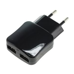 Ladeadapter USB - 2,1A 2-Port Multiadapter mit Auto-ID - schwarz