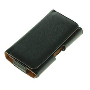 Horizontal Kunstleder Quertasche mit Gürtelclip für Smartphones L (4 - 4.5 Zoll) schwarz