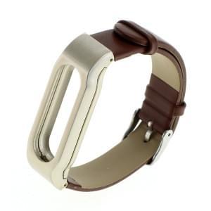 Armband Kunstleder mit Metalrahmen für Xiaomi Mi Band braun/silber
