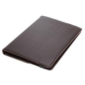Universal Rotation Bookstyle Kunstledertasche mit Halteklammer für Tablets bis 10 Zoll braun