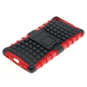 Outdoor Dual Schutzhülle mit Ständer für Huawei P8 schwarz-rot