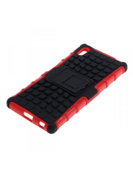 Outdoor Dual Schutzhülle mit Ständer für Sony Xperia Z5 schwarz-rot