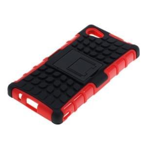 Outdoor Dual Schutzhülle mit Ständer für Sony Xperia Z5 Compact schwarz-rot