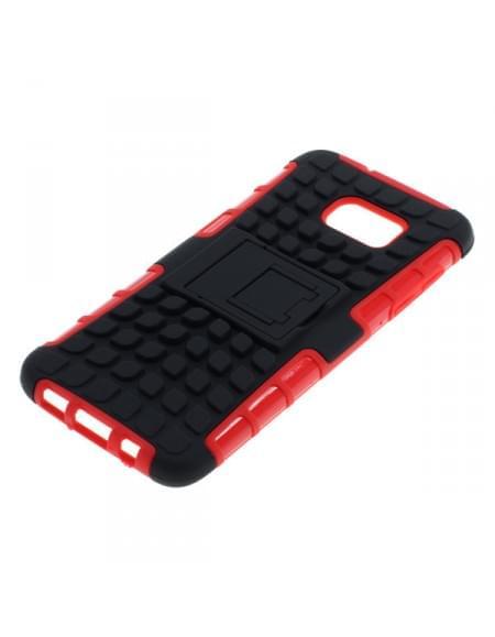 Outdoor Dual Schutzhülle mit Ständer für Samsung Galaxy S7 Edge SM-G935 schwarz-rot