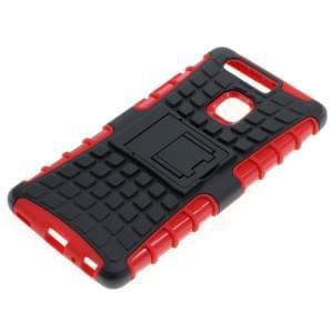 Outdoor Dual Schutzhülle mit Ständer für Huawei P9 schwarz-rot