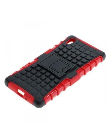 Outdoor Dual Schutzhülle mit Ständer für Sony Xperia X schwarz-rot