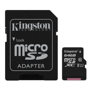 Kingston Speicherkarte microSDXC UHS-I Klasse 10 mit SD-Adapter - 64GB