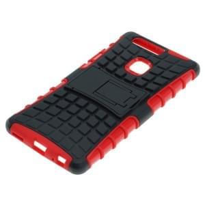 Outdoor Dual Schutzhülle mit Ständer für Huawei P9 Plus schwarz-rot