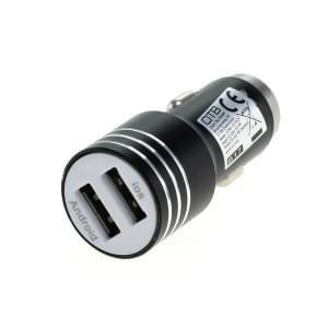 KFZ-Ladeadapter USB - Aluminiumgehäuse - 2-Port USB - 2,4A - schwarz