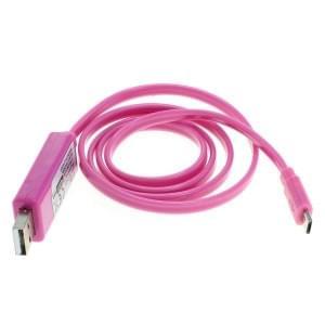 Datenkabel Micro-USB mit animiertem Lauflicht pink-pink