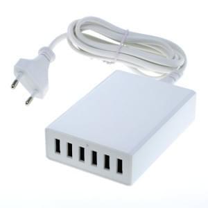 USB Ladegerät / Ladeadapter mit 6 USB-Buchsen 12A Auto-ID bis zu 2,4A pro Port weiß