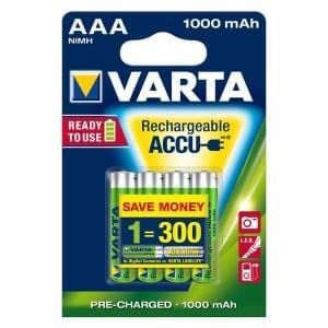 Varta Akku Rechargeable Accu Micro AAA Ready 2 Use NiMH 1000mAh - 4er Blister