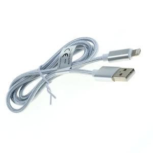 Nylonmantel Datenkabel Lightning für iPhone 5 / 6 / 6S / 7 / 8 / Plus / X  und Micro USB 1,0m silber