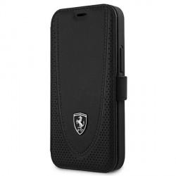 Ferrari iPhone 12 mini Ledertasche Perforated schwarz FEOGOFLBKP12SBK