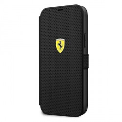 Ferrari Handytasche iPhone 12 Pro Max Perforiert schwarz FESPEFLBKP12LBK