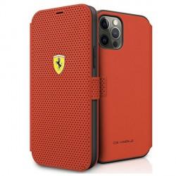Ferrari Handytasche iPhone 12 / 12 Pro Perforiert Rot FESPEFLBKP12MRE