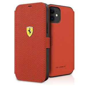 Ferrari Handytasche iPhone 12 mini Perforiert Rot FESPEFLBKP12SRE