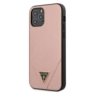 GUESS iPhone 12 / 12 Pro 6,1 Hülle Cover Case Saffiano rose GUHCP12MVSATMLPI