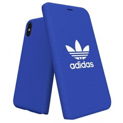 Adidas iPhone Xs / X Booklet Hülle / Case / Cover Tasche Canvas blau