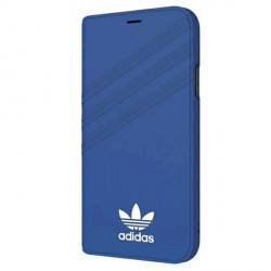 Adidas iPhone Xs / X OR Booklet Case / Tasche Suede blau