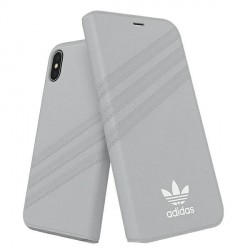 Adidas iPhone Xs / X Booklet Hülle / Case / Cover Tasche Suede grau