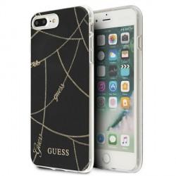 Guess iPhone 7 Plus / 8 Plus Hülle Chain Gold schwarz GUHCI8LPCUCHBK