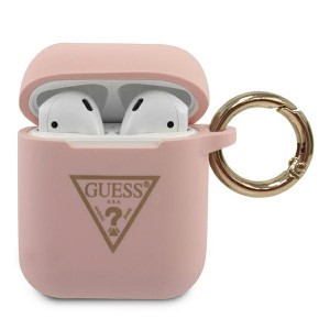 Guess AirPods 1 / 2 Silicone Triangle pink Cover / Case / Hülle GUACA2LSTLPI