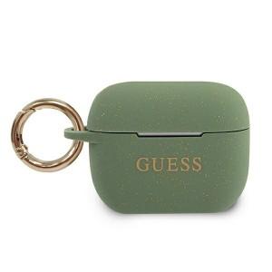 Guess AirPods Pro Silikon Glitter Hülle khaki mit Ring GUACAPSILGLKA