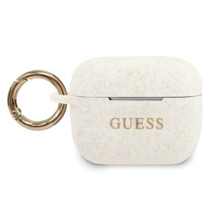 Guess AirPods Pro Silicone Glitter weiß Cover / Case / Hülle GUACAPSILGLWH