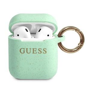 Guess AirPods 1 / 2 Silikon Glitter Hülle Grün mit Ring GUACCSILGLGN