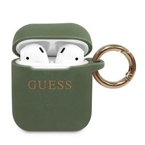 Guess AirPods 1 / 2 Silikon Glitter Hülle khaki mit Ring GUACCSILGLKA