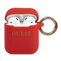 Guess AirPods 1 / 2 Silicone Glitter rot Cover / Case / Hülle GUACCSILGLRE