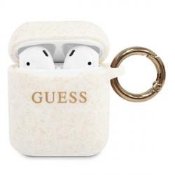 Guess AirPods 1 / 2 Silicone Glitter weiß Cover / Case / Hülle GUACCSILGLWH