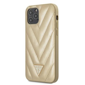 Guess iPhone 12 / 12 Pro 6,1 Hülle V-Quilted Gold GUHCP12MPUVQTMLBE