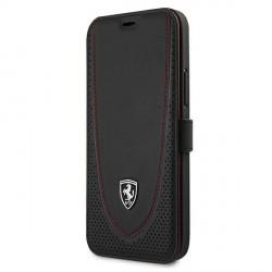 Ferrari iPhone 12 Pro Max Ledertasche Perforated schwarz FEOGOFLBKP12LBK